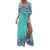 الشاطئ اللباس المرأة نصف كم V عنق فستان مثير Etehnic طباعة خمر الصيف فستان طويل الهبي
