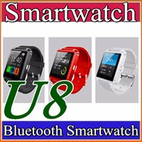 2018 U8 U Watch Con monitor de sueño podómetro cronómetro Bluetooth Smart Watch DZ09 GT08 A1 para iPhone Samsung HTC Android Smartphones A-BS