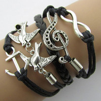 Braided Leather Handmade Bracelet Mutilayer Love Infinity An...