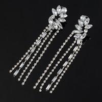 Fashion accessories drop earrings ultra long of luxury sparkling white full crystal tassel earrings wedding dress E048