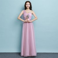 2018 New Summer Long Bridesmaid Dresses Women One Shoulder W...