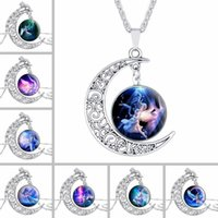 Best gift New moon gemstone necklace hot angel glass pendant...