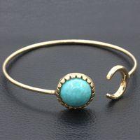 الجملة النساء الفيروز الإسورة سوار الفضة مطلي هندسية سحر بوهيميا مجوهرات القادمون الجدد