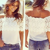 Wholesale- New 2015 sexy Women Off Shoulder lace shirts casua...