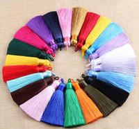 lot uzunluğu başına 15 adet 8 cm genişlik 12mm DIY Takı Yapımı Bulguları için karışık renklerin püsküller Püsküller İpek Küpe Charm Kolye Saten Püsküller