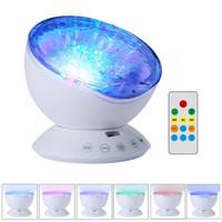 Erstaunlich romantische Fernbedienung Ocean Wave Projektor 12 LED 7 Farben Nachtlicht mit eingebautem Mini-Musik-Player für Wohnzimmer und Schlafzimmer