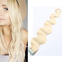 Vente chaude remy extensions de cheveux humains 20 pcs PU peau trame trame vague bande dans les extensions de cheveux livraison gratuite multi couleur 16 pouces