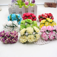 Venta al por mayor-144pcs papel clavel Handmake Artificial ramo de flores decoración de la boda DIY corona caja de regalo Scrapbooking Craft flor falsa