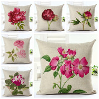 Rosa blommigt kasta kuddefodral för soffa stol säng fuchsia blommor kudde täcke peony almofada trädgård växt cojines