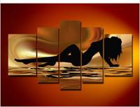 큰 Handpainted 추상 섹시한 그림 캔버스 인쇄 집 벽 장식 5-Piture 결합 수제 누드 유화