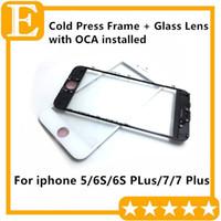 Soğuk Pres Tutkal ön Çerçeve + Cam Lens ile OCA Filmi yüklü Ön-montajı için iPhone 5 6 S 6 S Artı 7G 7 Puls Siyah Beyaz