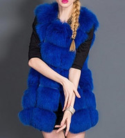 New Women 's Warm Gilet Outwear Longue Slim Gilet Faux Fox Fourrure Gilet Veste Manteau S-XXXL drop shipping