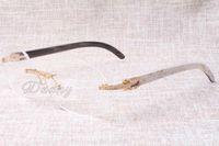 lunettes de diamant luxe de qualité et de haute T8100903 chaud lunettes noir et blanc naturel des hommes occasionnels de la mode et les femmes des lunettes Taille: 54-18-140mm