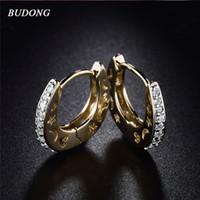 Оптовые- Budong Fashion Silver / Gold Color Small Moon Star Hoop Серьги для женщин Камень CZ Циркония Crystal Свадебные украшения Xue108