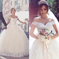 2017 vestios de noiva Ballkleid Prinzessin Brautkleider Romantisch Von Schultern Spitze Appliques Backless Brautkleider