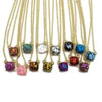 Freies Verschiffen-neuer einfacher Glitter-Quadrat-Anhänger nette mehr Farben-elegante Halskette, süße Mädchen-Art- und Weisehalskette