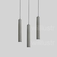 willlustr 시멘트 펜던트 조명 LED 회색 콘크리트 서스펜션 램프 미니멀 한 디자인의 조명 매달려 램프 다 이닝 룸 레스토랑 순수 시멘트