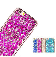 iPhone7 Luxury Bling Diamond 3D Rugged Sunflower chapado transparente TPU suave para el iPhone 5 5S SE 6 6S 7 Plus