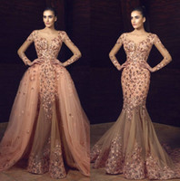 Chic Beaded Mermaid Formal Dresses Evening Wear With Detacha...