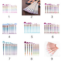 10pcs set Mermaid Brush Makeup Brush Set Face Cream Power Fo...