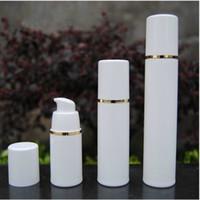 PP 15ml 30ml 50ml Airless-Flasche weiß klare Farbe Airless-Pumpe für Lotion BB Creme Vakuumflasche White + Gold F20171085