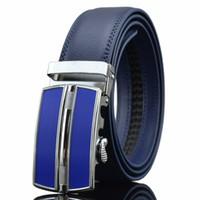 الشحن مجانا! الرجال جودة عالية جودة عالية الأسود التلقائي مشبك جلد أزرق حزام الجينز حزام أحزمة للرجال cintos cinturones