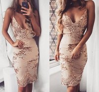 Sexy Spaghetti Straps Deep V- neck Sheath Short Cocktail Dres...