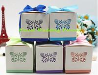 (100 piezas / lote) Butterfly Cut Cut Favor Favor para Baby Birthday Fiesta Decoración Regalo Caja de regalo y Baby Shower Favor Favor