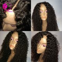 Peluca llena del pelo humano del cordón sin cola Pelucas rizadas profundas brasileñas sin procesar de la Virgen el 100% para la mujer negra Natural Hairline Freeship