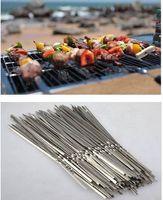 35CM Food Camping Picnic barbacoa de aguja vegetal barbacoa parrilla de acero inoxidable partido Kabob Kebab pinchos de cordero horquillas