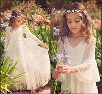 2020 Nueva Fancy una línea de niña de las flores de encaje Vestidos estilo rural niñas vestidos de cuello en V mangas 3/4 por 2-12 años MC0668