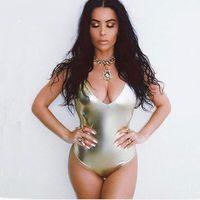 Ouro Prata Metálico Acabamento Meninas Bodysuit Aberto Voltar Verão V-Neck Swimsuits One Peça Swimwear para Mulheres Frete Grátis