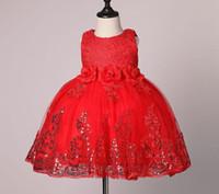 Kız Giydirme Çocuklar için 2017 Yaz 3D Çiçek Kolsuz Pullarda Bebek TUTU Elbise Moda ilmek Çocuklar Prenses Parti Elbise 7-24M