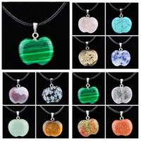 Colar de declaração de jóias barato cura cristais corda de couro colares gota redonda flor cruz de pedra natural pingentes colar de pedra