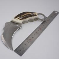 Скорпион Коготь нож открытый кемпинг выживания нож фиксированным лезвием охотничьи ножи для продажи AUS-8A смолы ручка керамбит ножи кожаные ножны