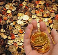 플라스틱 금을 보물 동전 동전 생일 축하 크리스마스 보물 동전 선물 상자 장식품 선물