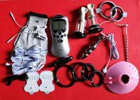 Elektroşok Darbe Şok Dişli BDSM Şok Cihazı Yetişkin Seks Oyunları Ürünleri Oyuncaklar Penis Fiziksel Terapi Halkası, Üretra Fiş, Anal Plug,