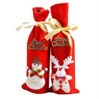Red Wine Bottle Cover Bags Decoration Home Party Santa Claus...