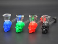 Silicone skull glass oil burner Pyrex oil pipe heady thick s...
