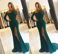 Charming Lace V- Neck Mermaid Long Evening Dresses Beaded Sid...