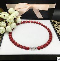 10mm corail rouge perle collier de beignets mer profonde coquille naturelle shell shell collier envoyer mère 925 argent boucle + shone