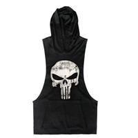Atacado- 2016 nova marca crânio camisa sem mangas moda casual com capuz gyms tank top homens musculação marca de fitness clothing