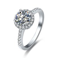 الجملة خواتم 18K الذهب الأبيض مطلي الفضة الاسترليني 0.5ct جولة nscd مقلد خاتم الماس للنساء الاشتباك