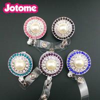 Nuovo arrivo strass multicolor con grande perla rotonda retrattile bobina di plastica con carta d'identità con accessori per infermiere