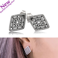 2017 New Geometric Lines Earring Studs White Cubic Zirconia ...