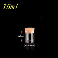 30*40mm 15ml Glass Vials Jars Test Tube With Cork Stopper Em...