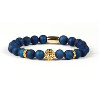 Top Qualité Bijoux En Gros 8mm Bleu et Violet Scrubs Ouvertures Pierre Rire avec PVD Plaqué Bracelet Tête De Lion