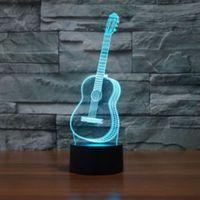Musica Chitarra Modello 3D Notte Light Touch Table Desk Lampade, 7 colori luci cangianti Illusion con acrilico piatto ABS Base USB Charger