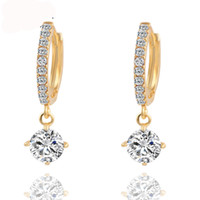 Hot Charm Brincos Geometric Round Crystal Stud Earrings Gold...