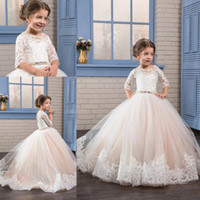 2017 New Cheap Flower Girls Dresses Jewel Neck Half Sleeves ...
